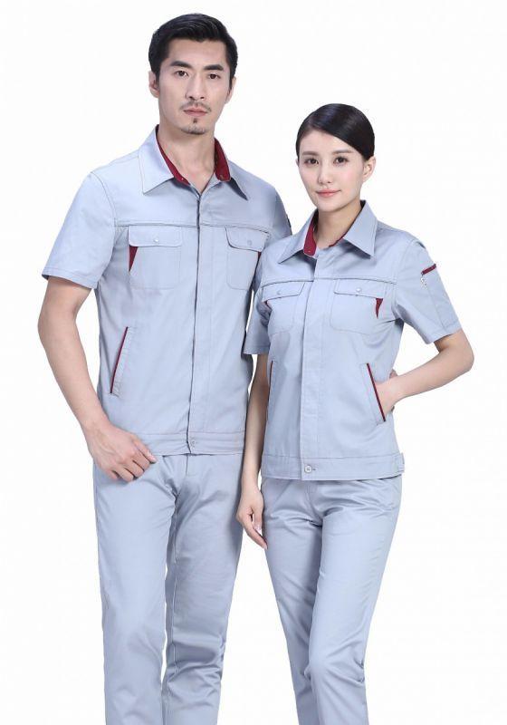 套装短袖工作服定做为什么选择全棉面料?